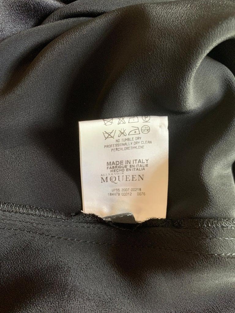 Alexander McQueen 2007 Black Silk Feather Print Cowl Neck Dress  For Sale 3