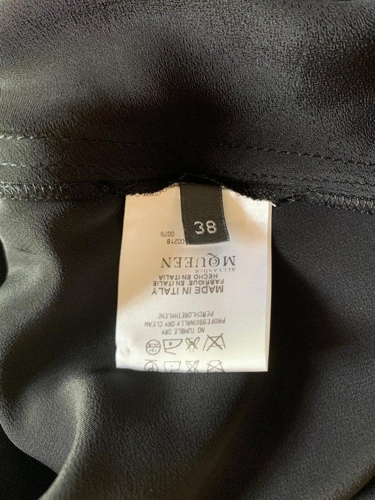 Alexander McQueen 2007 Black Silk Feather Print Cowl Neck Dress  For Sale 4