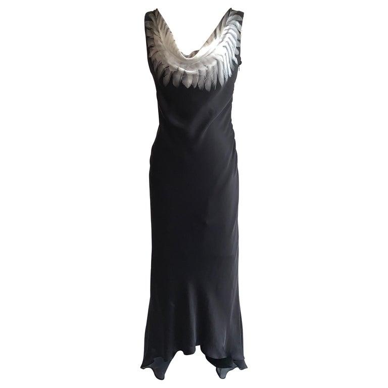 Alexander McQueen 2007 Black Silk Feather Print Cowl Neck Dress  For Sale