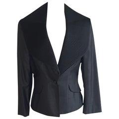 Alexander McQueen 2007 Dark Charcoal and Black Exaggerated Collar Blazer Jacket