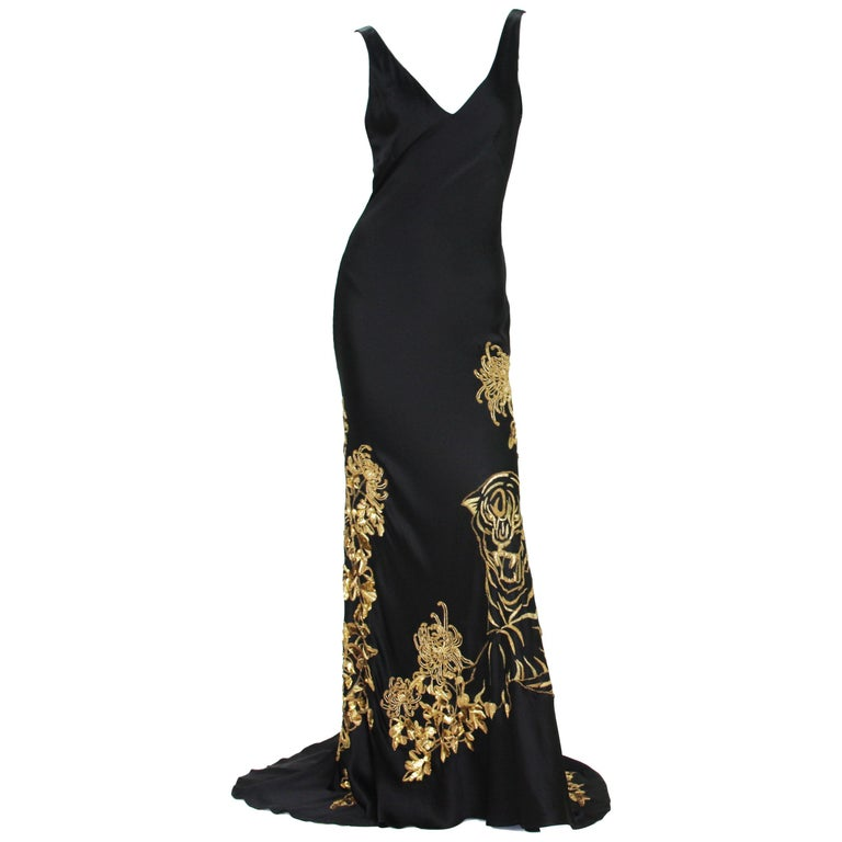 Alexander McQueen 2007 Gold Embroidered Tiger Dress 42 as seen on MARY STUART TV For Sale