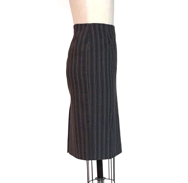 Black Alexander McQueen 2007 Grey Metallic Stripe Pencil Skirt
