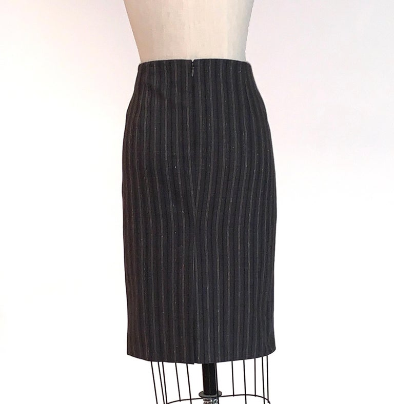 Alexander McQueen 2007 Grey Metallic Stripe Pencil Skirt In Excellent Condition In San Francisco, CA