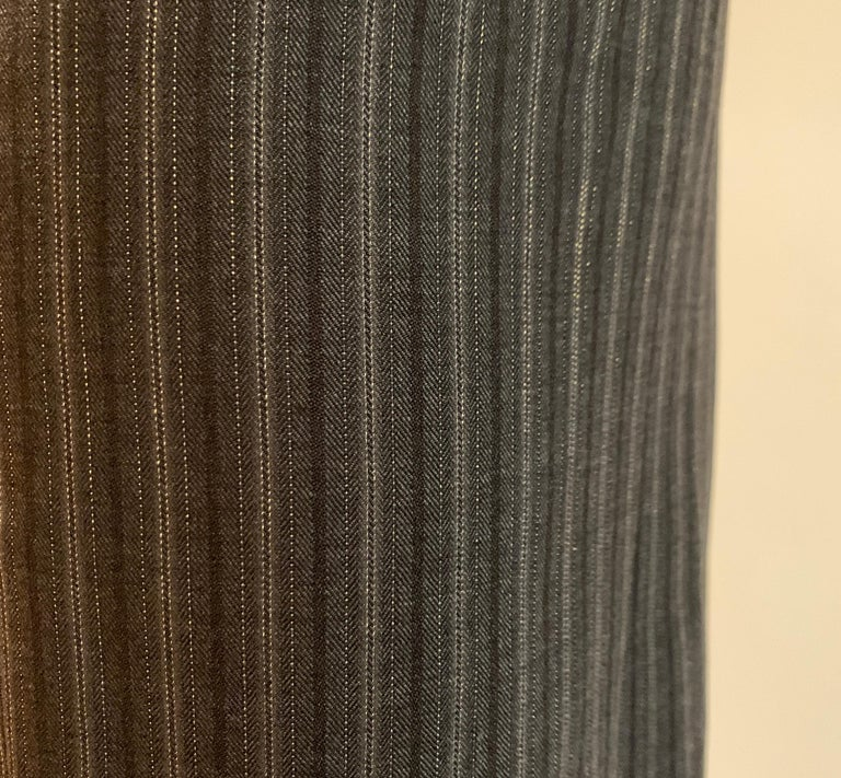 Women's Alexander McQueen 2007 Grey Metallic Stripe Pencil Skirt