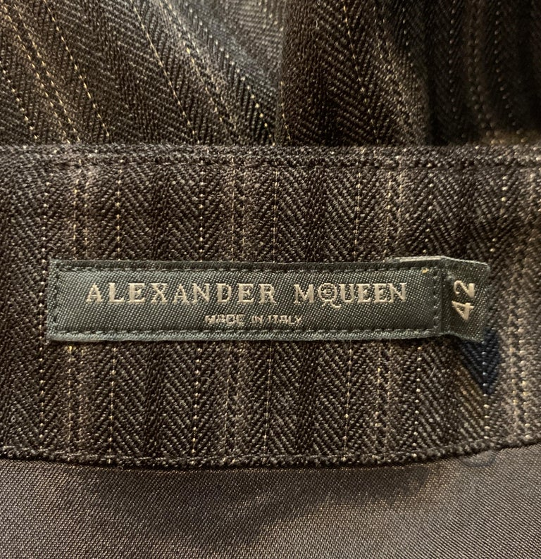 Alexander McQueen 2007 Grey Metallic Stripe Pencil Skirt 1