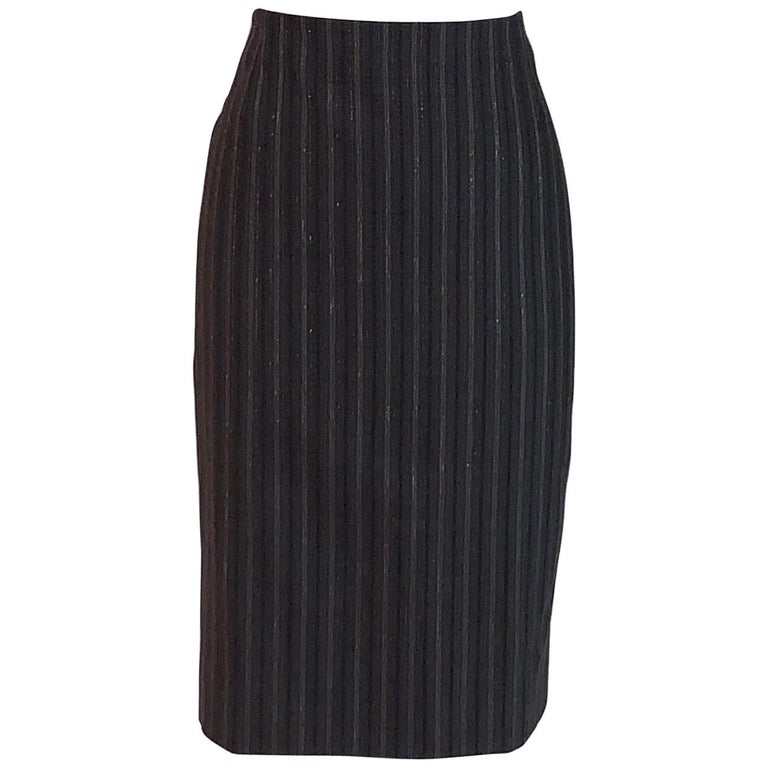 Alexander McQueen 2007 Grey Metallic Stripe Pencil Skirt