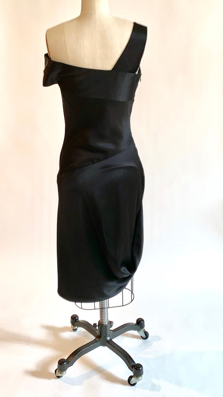 Alexander McQueen 2008 Black and Nude Silk Asymmetrical Drape Dress  In Excellent Condition For Sale In San Francisco, CA