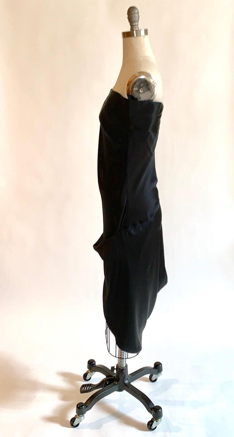 Women's Alexander McQueen 2008 Black and Nude Silk Asymmetrical Drape Dress  For Sale