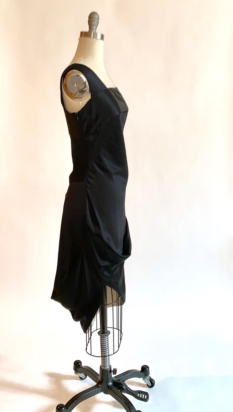 Alexander McQueen 2008 Black and Nude Silk Asymmetrical Drape Dress  For Sale 1