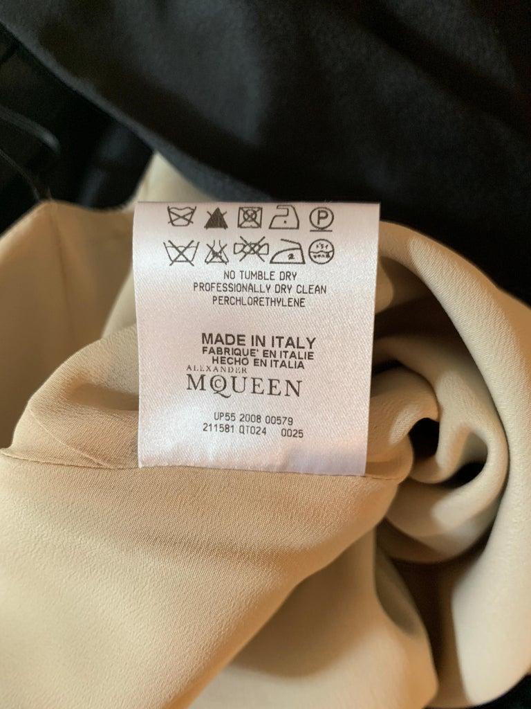 Alexander McQueen 2008 Black and Nude Silk Asymmetrical Drape Dress  For Sale 5