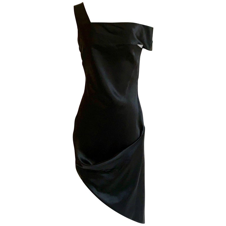 Alexander McQueen 2008 Black and Nude Silk Asymmetrical Drape Dress  For Sale