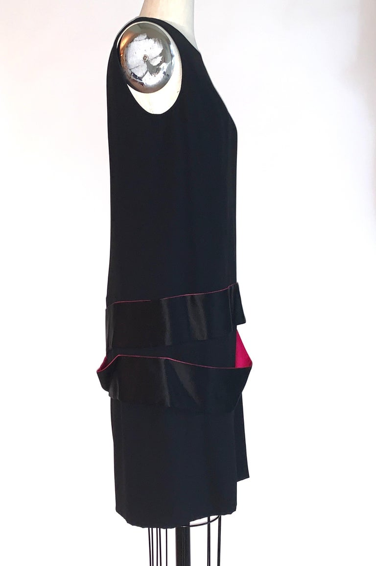 Alexander McQueen 2008 Black Drop Waist Dress with Pink Silk Band Detail In Excellent Condition For Sale In San Francisco, CA