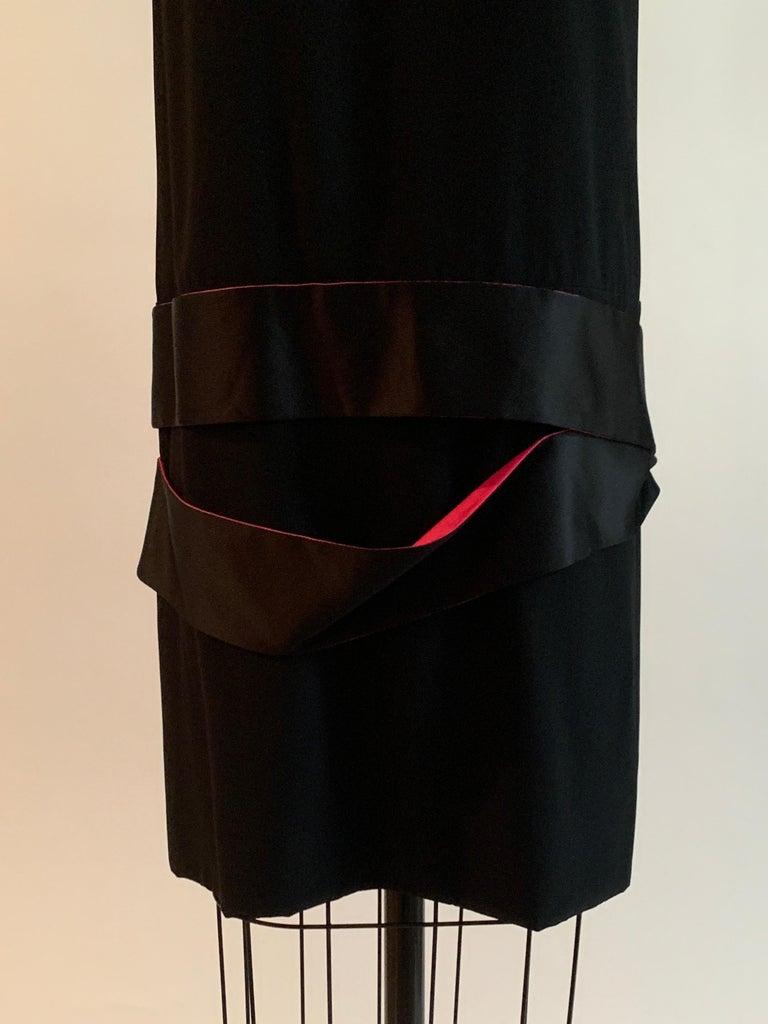 Alexander McQueen 2008 Black Drop Waist Dress with Pink Silk Band Detail For Sale 1