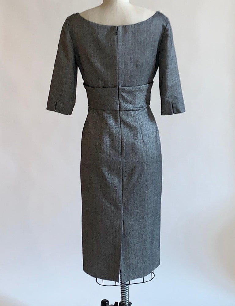 Women's Alexander McQueen 2008 Grey and Black Herringbone Wool Dress For Sale