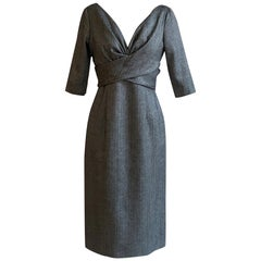 Alexander McQueen 2008 Grey and Black Herringbone Wool Dress