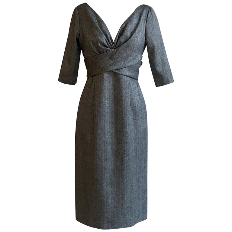 Alexander McQueen 2008 Grey and Black Herringbone Wool Dress For Sale