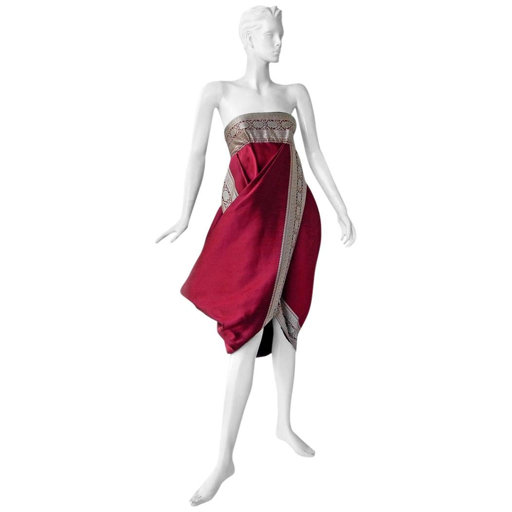 Alexander McQueen 2008 Look of Royalty Red and Silver Strapless Dress