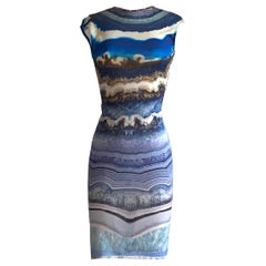Alexander McQueen 2009 Blue and White Agate Print Fitted Knit Dress