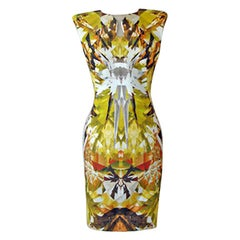 Alexander McQueen 2009 Futuristic Crystalized Print Sheath Dress -new