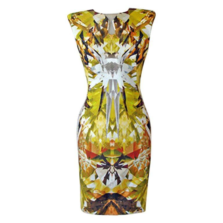 Alexander McQueen 2009 Futuristic Crystalized Print Sheath Dress -new For Sale