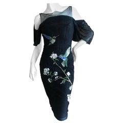 Alexander McQueen 2009 Hummingbird Embroidered Little Black Corset Dress