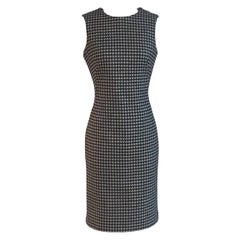 Alexander Mcqueen 2009 Wool Black and White Houndstooth Dogtooth Check Dress