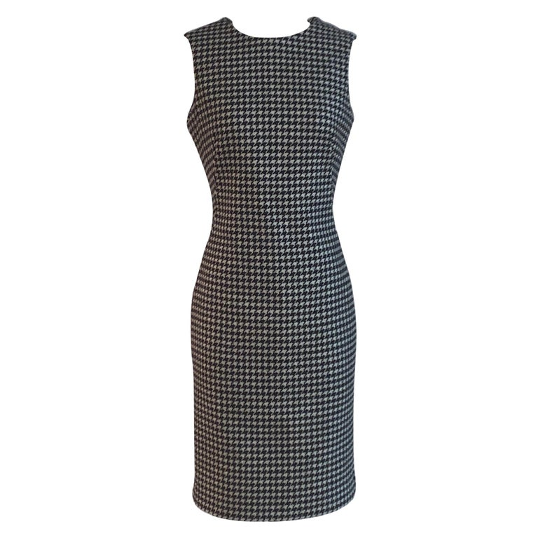 Alexander Mcqueen 2009 Wool Black and White Houndstooth Dogtooth Check Dress For Sale