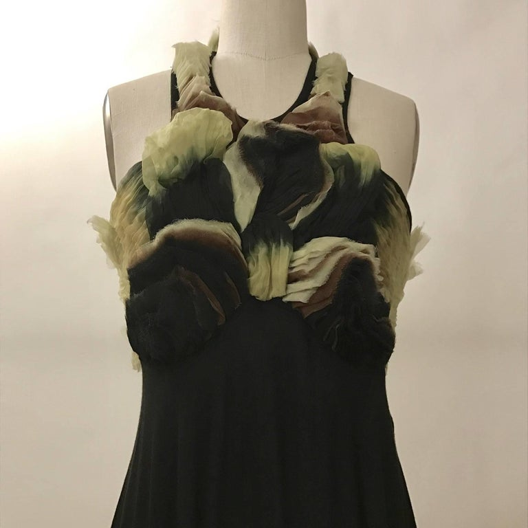 Women's New Alexander McQueen 2010 Black Jersey Dress with Ombre Organza Swirls at Top For Sale