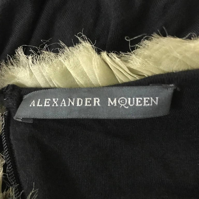 New Alexander McQueen 2010 Black Jersey Dress with Ombre Organza Swirls at Top For Sale 1