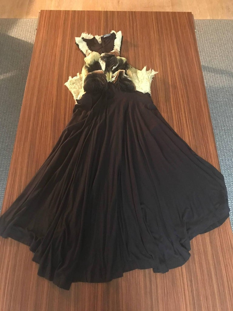 Alexander McQueen 2010 Black Jersey Dress with Ombre Organza Swirls at Top For Sale 5