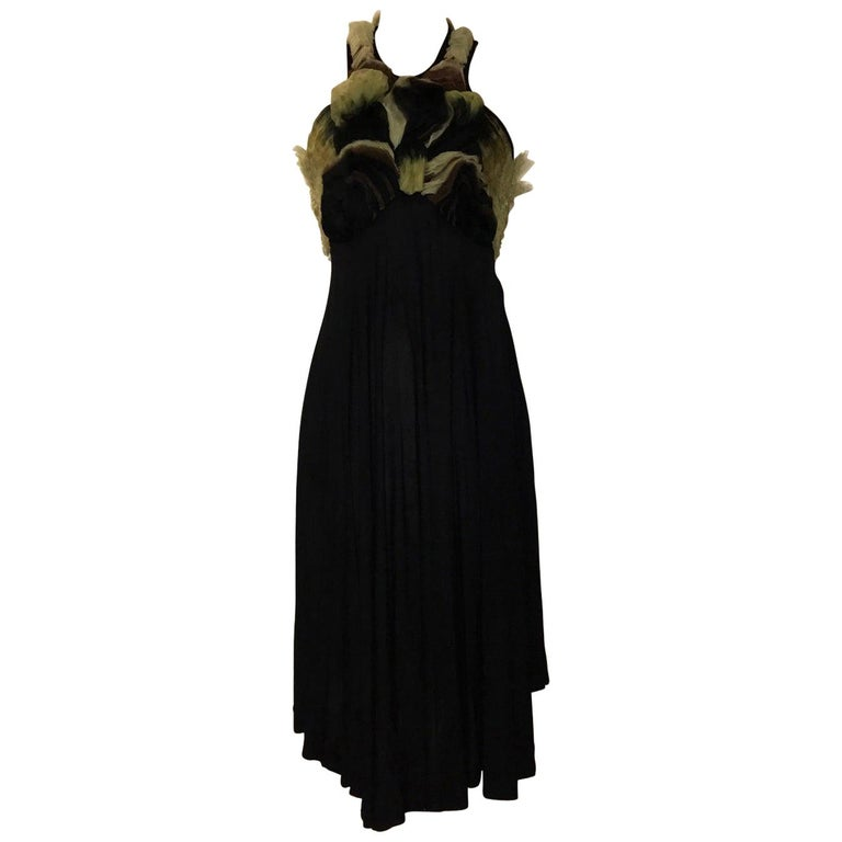 New Alexander McQueen 2010 Black Jersey Dress with Ombre Organza Swirls at Top For Sale