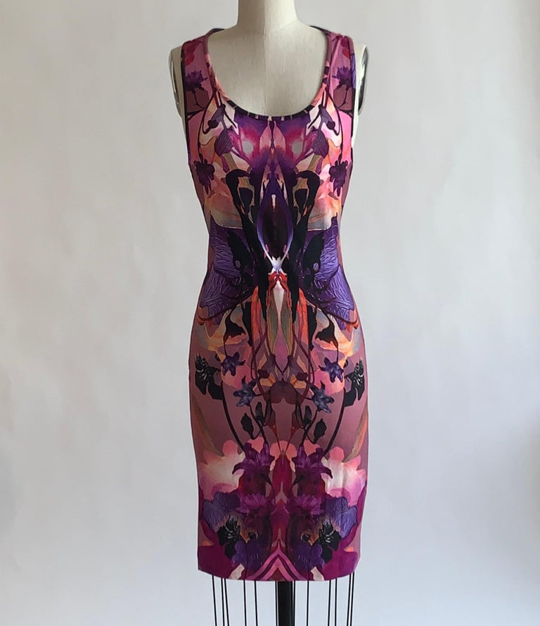 Alexander Mcqueen 2010 pink and purple orchid and floral digital print dress in super soft jersey. Sleeveless with racerback. Pull on, no closure. Content labels indicate that this was a sample/special project, we're not sure if the style ever made
