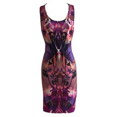 Alexander McQueen 2010 Pink and Purple Orchid Digital Print Dress