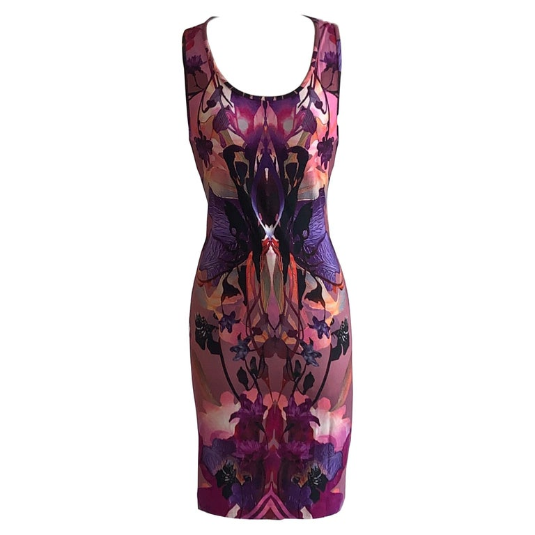 Alexander McQueen 2010 Pink and Purple Orchid Digital Print Dress For Sale