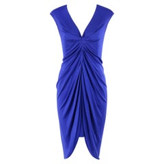 ALEXANDER McQUEEN 2010 Sapphire Blue Silk High Low Ruched Body-Con Dress