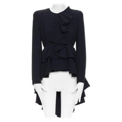 ALEXANDER MCQUEEN 2011 black padded shoulder ruffle cascade evening jacket IT40