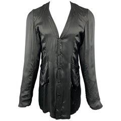 ALEXANDER MCQUEEN 38 Black Satin Collarless V Neck Lightweight Coat