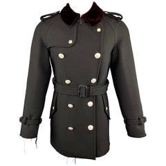 ALEXANDER MCQUEEN 38 Black Wool Silver Button Burgundy Vevet Collar Trench Coat