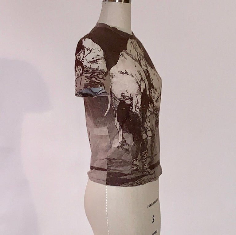Alexander McQueen 90s Goya Los Caprichos Etching Print Shirt T-Shirt Brown In Excellent Condition For Sale In San Francisco, CA