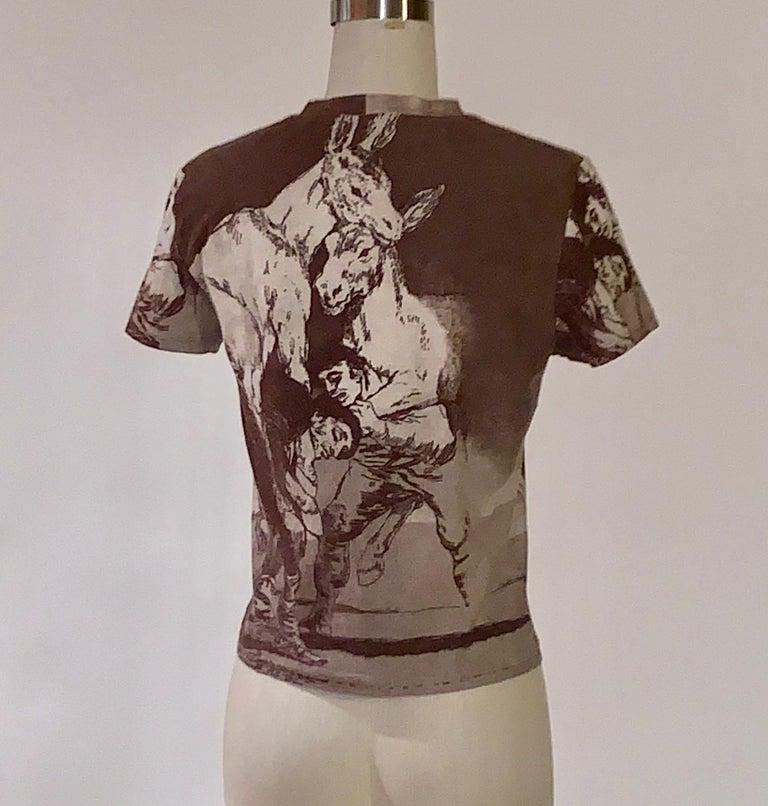 Women's or Men's Alexander McQueen 90s Goya Los Caprichos Etching Print Shirt T-Shirt Brown For Sale
