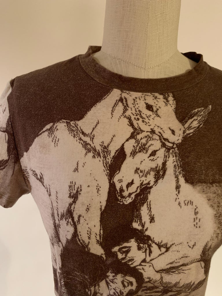 Alexander McQueen 90s Goya Los Caprichos Etching Print Shirt T-Shirt Brown For Sale 1