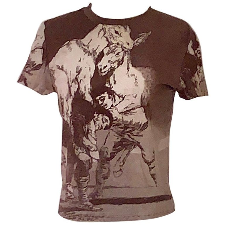 Alexander McQueen 90s Goya Los Caprichos Etching Print Shirt T-Shirt Brown For Sale