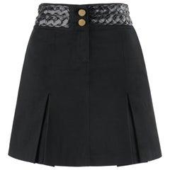 "ALEXANDER McQUEEN A/W 1996 ""Dante"" Black Leather Braid Trim Pleated Mini Skirt"