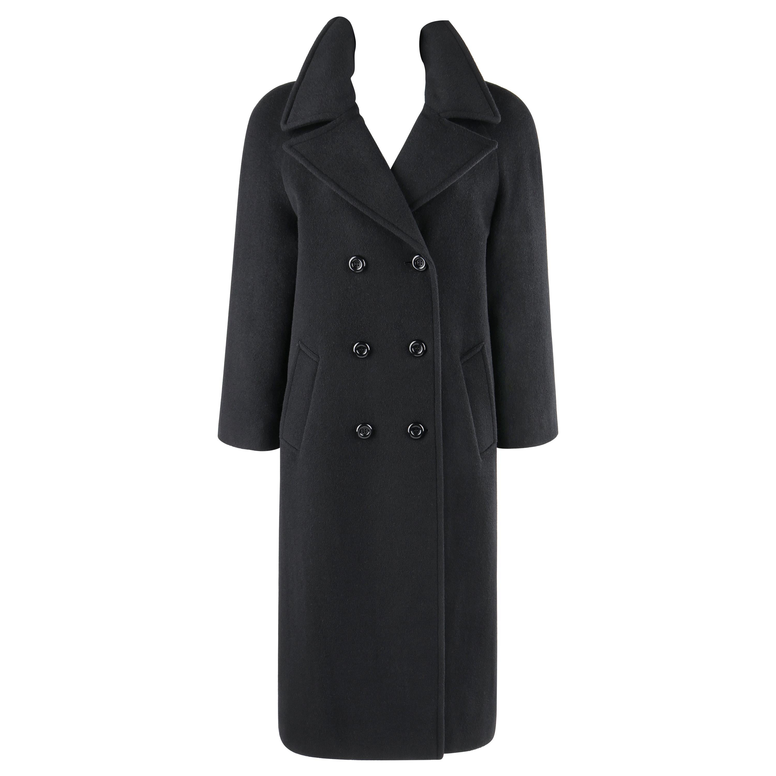 """ALEXANDER McQUEEN A/W 1996 """"Dante"""" Black Wool Cashmere Double Breasted Overcoat"""