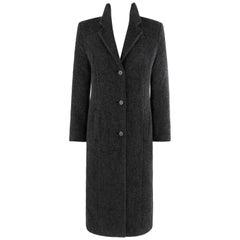 "ALEXANDER McQUEEN A/W 1996 ""Dante"" Charcoal Gray Mohair Coat Button Up Overcoat"