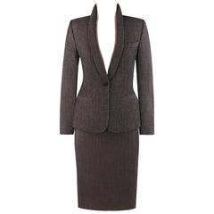 """ALEXANDER McQUEEN A/W 1998 """"Joan"""" 2 pc. Removable Collar Blazer Skirt Suit Set"""