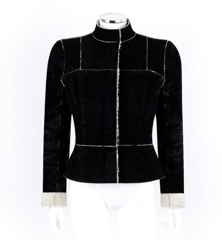 ALEXANDER McQUEEN A/W 1999 Black Cream Shearling Sherpa Panel Jacket Coat     Brand / Manufacturer: Alexander McQueen Collection: Autumn / Winter 1999 Designer: Alexander McQueen Style: Jacket Color(s): Black and cream Lined: Yes Marked Fabric