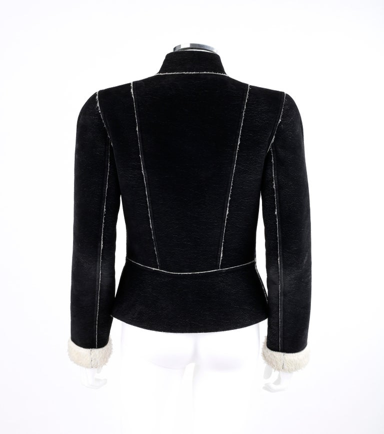 ALEXANDER McQUEEN A/W 1999 Black Cream Shearling Sherpa Panel Jacket Coat  For Sale 1