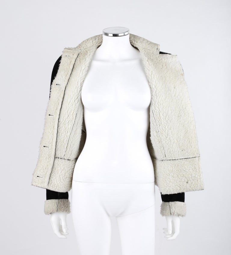 ALEXANDER McQUEEN A/W 1999 Black Cream Shearling Sherpa Panel Jacket Coat  For Sale 3