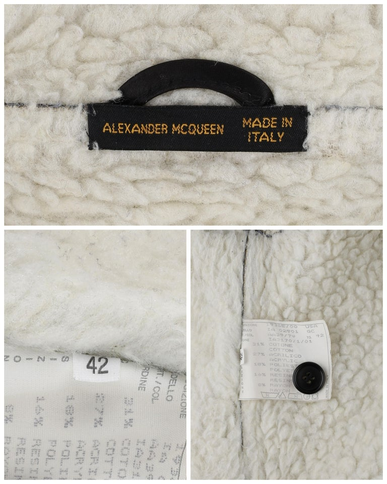 ALEXANDER McQUEEN A/W 1999 Black Cream Shearling Sherpa Panel Jacket Coat  For Sale 4